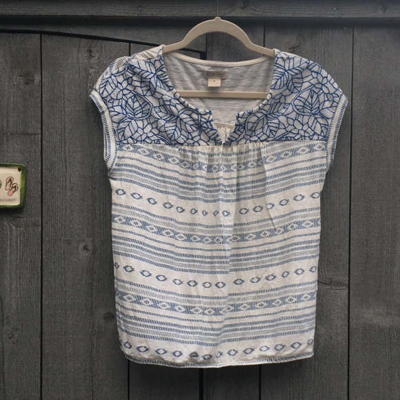 Lucky Brand Tops - Lucky Brand White Shirt with Blue Embroidery